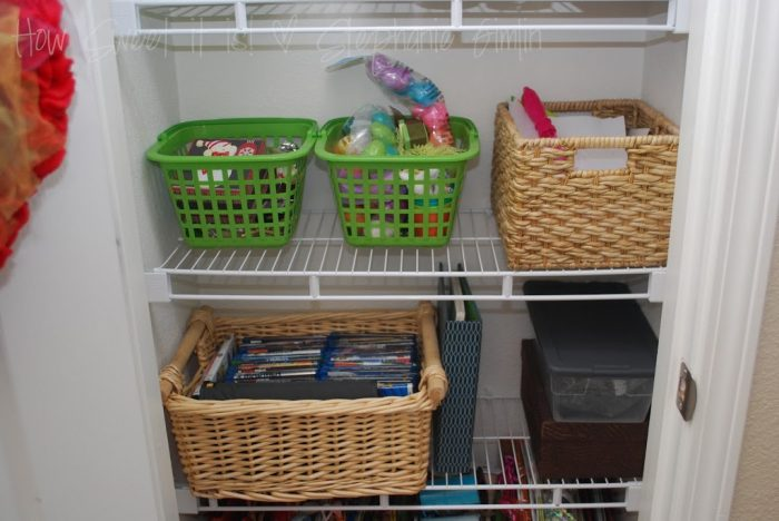 From Coat Closet to Storage Closet (gift bag storage)!
