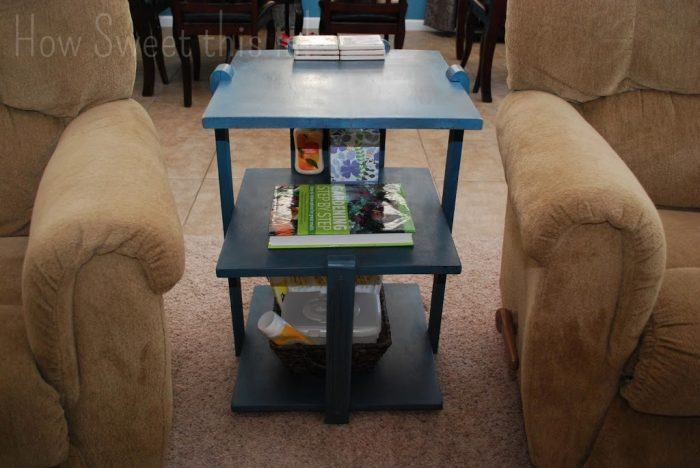 Annie Sloan Aubusson and Graphite Side Table Makeover