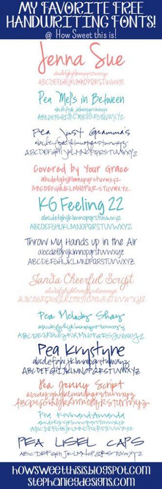 My Favorite Free Handwriting Fonts