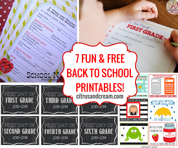 7 FUN & FREE Back to School Printables!