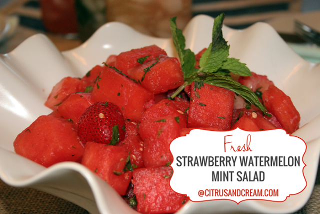 Simple Strawberry Watermelon Mint Salad