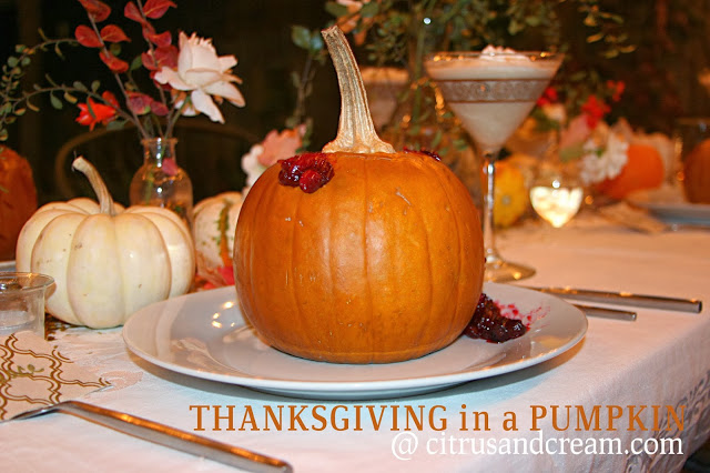Thanksgiving in a Pumpkin: Baked Pumpkins Filled with Turkey, Mashed Potatoes, & Cranberry Sauce