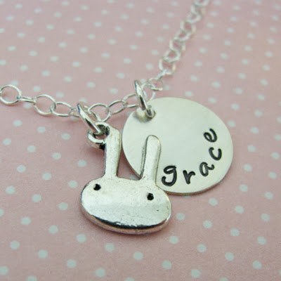 Bunny Necklace with Custom Name Charm by juliethefish