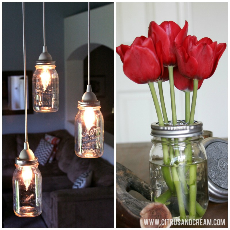 pendant lights and tulips