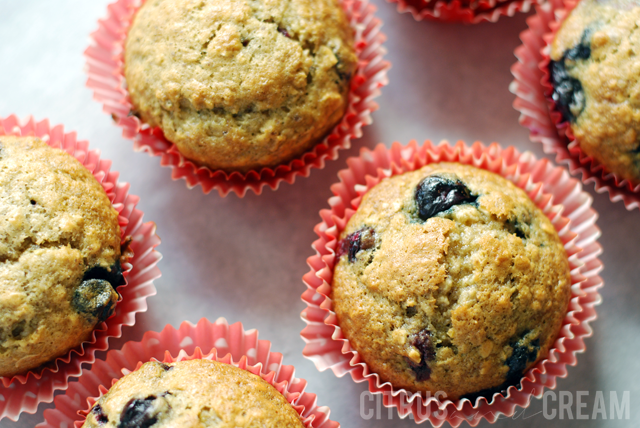Healthy Banana Blueberry Oat Muffins