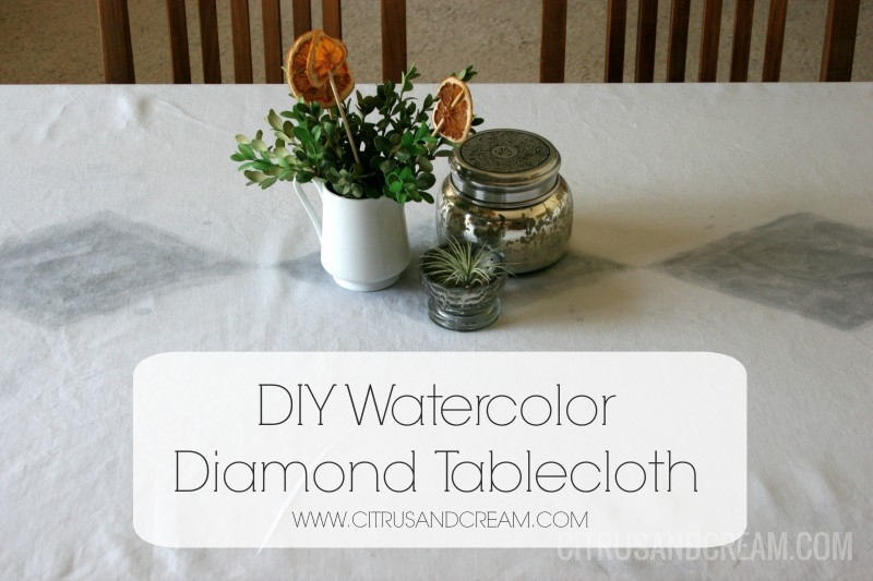 DIY Watercolor Diamond Tablecloth