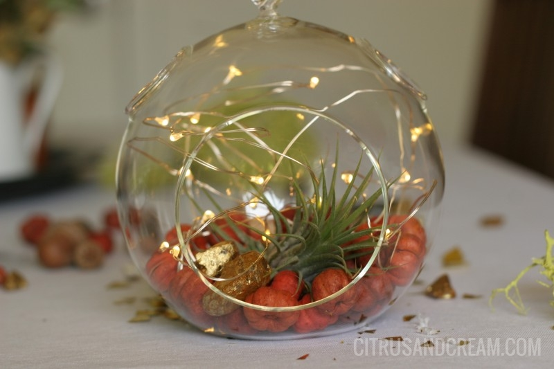 Beautiful Fall-Inspired Lighted Terrarium