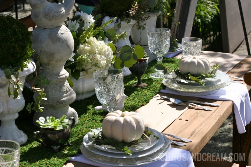 Fall Green and White Table Setting with White Pumpkins