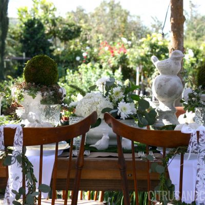 A Fresh Green & White Fall Table