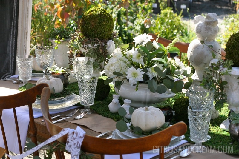 Stunning Fall Green and White Table Setting