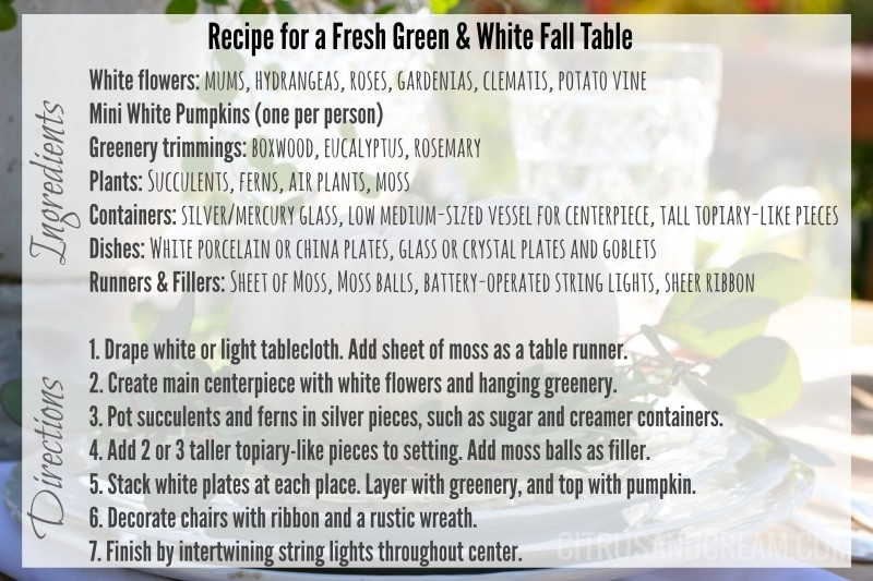 Recipe for Green and White Fall Table